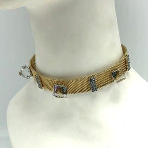 Alice Caviness Gold Mesh Choker Iridescent Squares